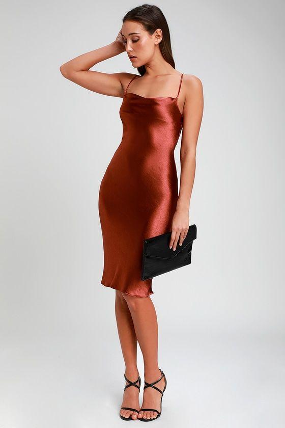 Brazen Babe Copper Satin Cowl Neck Midi Slip Dress Copper Dress Slip Dress Fashion