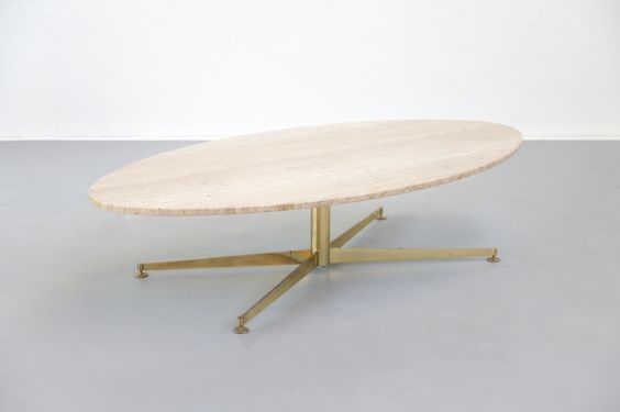 Table Basse Laiton Travertin Florence Knoll Italien Vintage Design Danke Galerie Coffee Rare Table Basse Ovale Des Annees 50 60 Moveis