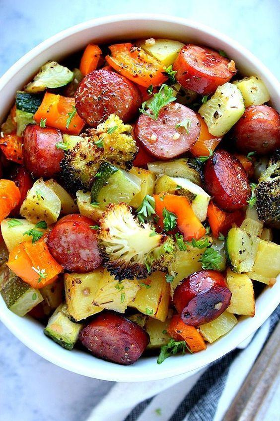 Healthy Sheet Pan Smoked Sausage & Veggies