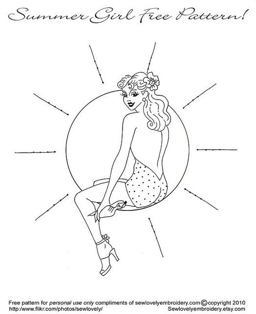 """I happen to live with someone who requested """"pin-up girl embroidery,"""" perhaps for the irony. Little did he know that I would find a free pattern..."""
