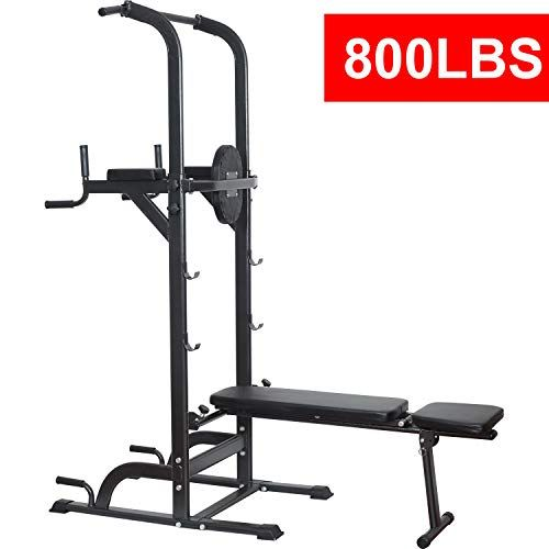 Power Tower Dip Station High Capacity 800lbs W Weight Sit Up Bench Adjustable Height Heavy Duty Steel Multi Function Fitn In 2020 Power Tower Dip Station Home Made Gym