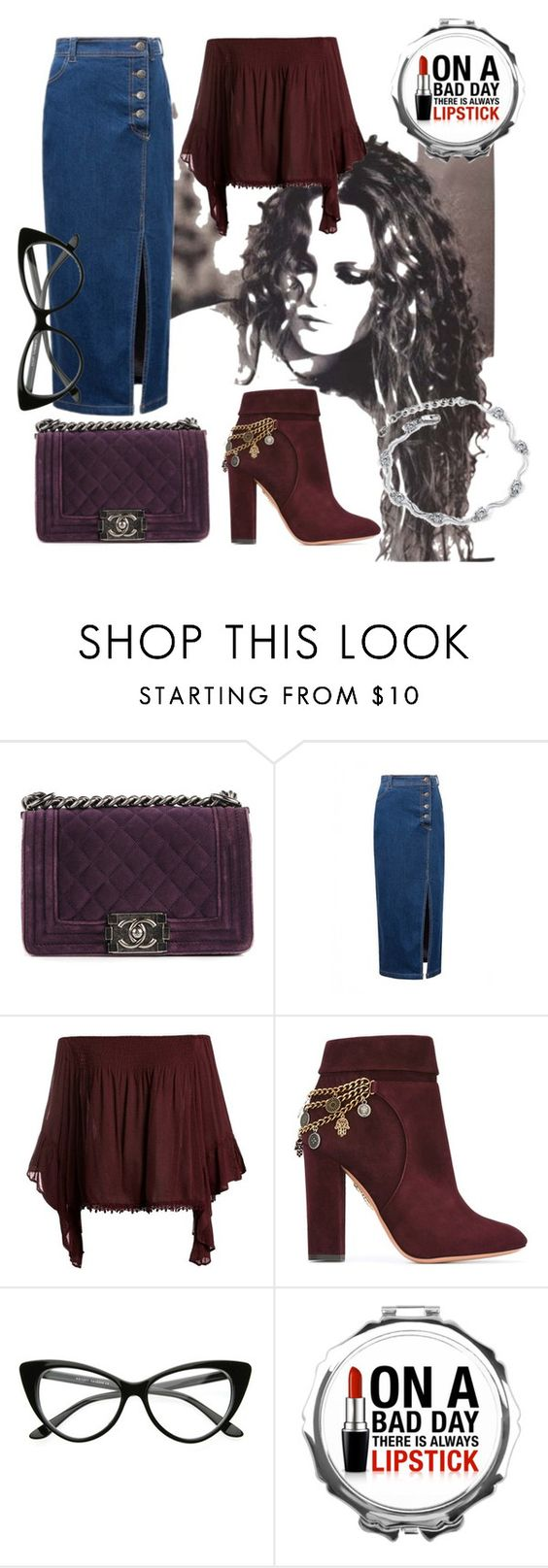 """""""Velvet"""" by stellamarina465 ❤ liked on Polyvore featuring Chanel, WithChic, Sans Souci and Aquazzura"""