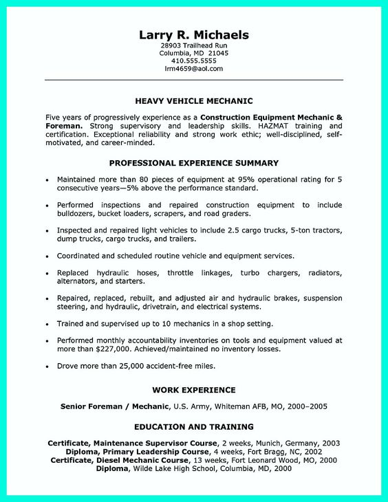 Resume Core Competencies Resume Template Pinterest   Diesel Mechanic Resume  Diesel Mechanic Resume