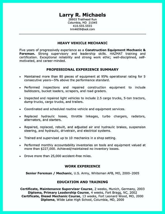 resume core competencies resume template Pinterest - diesel mechanic resume