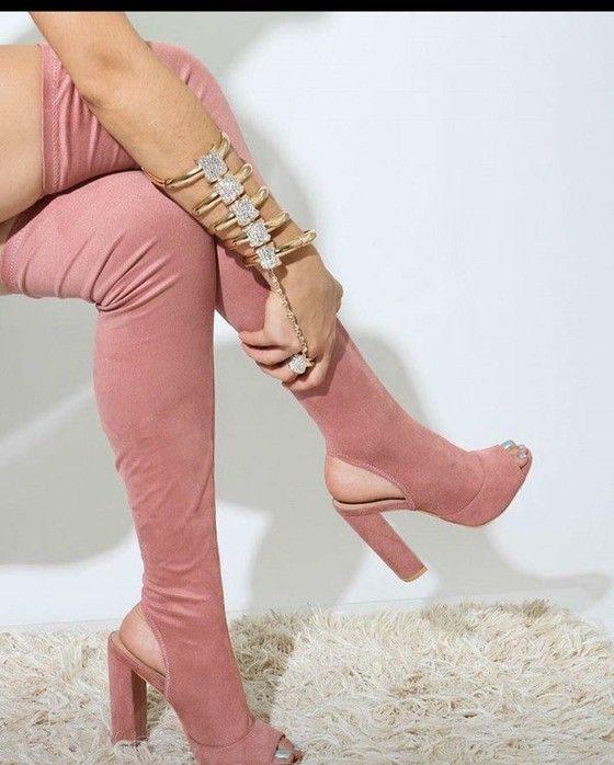 thigh high heel boots peep toe