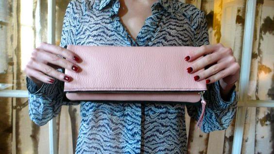 DIY hand sew leather clutch by Jenna Sauers