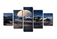 Schilderij-Volle-maan-5-delig-(160x80cm)
