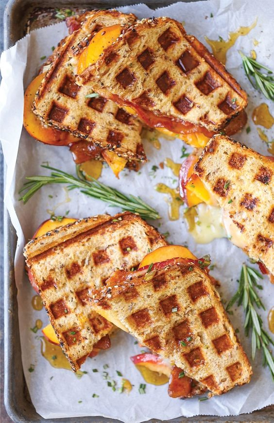 Fresh peaches, peach preserves, crisp bacon and ooey gooey melted brie…