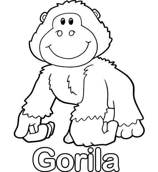colorear-dibujo-de-gorila.gif 505×550 píxeles  moldes ...