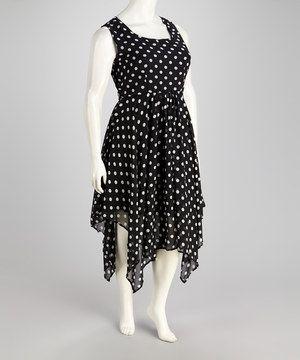 Look at this #zulilyfind! Black & Ivory Polka Dot Handkerchief Dress - Plus by Metro 22 #zulilyfinds