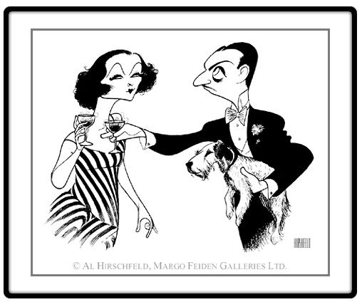"The Thin Man: Myrna Loy and William Powell  Hand signed by Al Hirschfeld  Limited-Edition Lithograph  Edition Size: 100  18"" x 22"":"