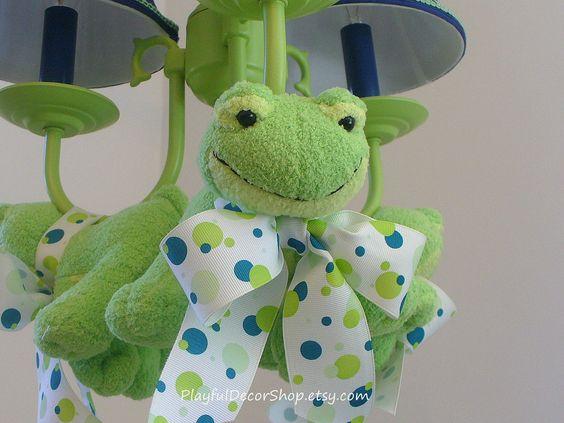"Children's Nursery Light ""Fuzzy Frogs"". $325.00, via Etsy."