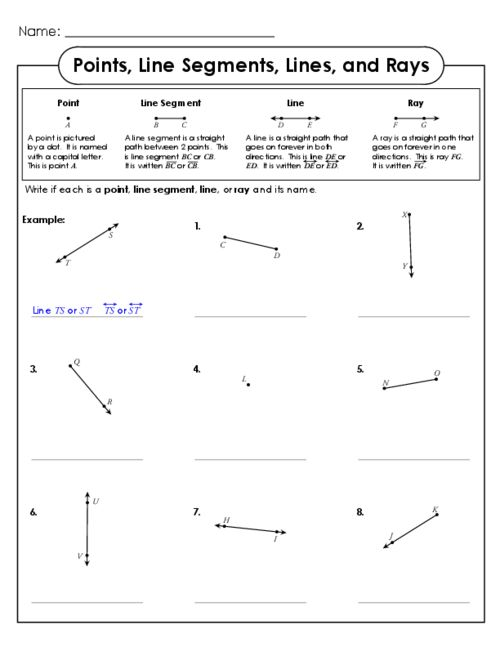 Points Line Segments Lines and Rays – 4th Grade Math Worksheets with Answer Key