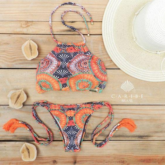 Biquíni Mandala Laranja - Caribe Brasil | Beachwear: