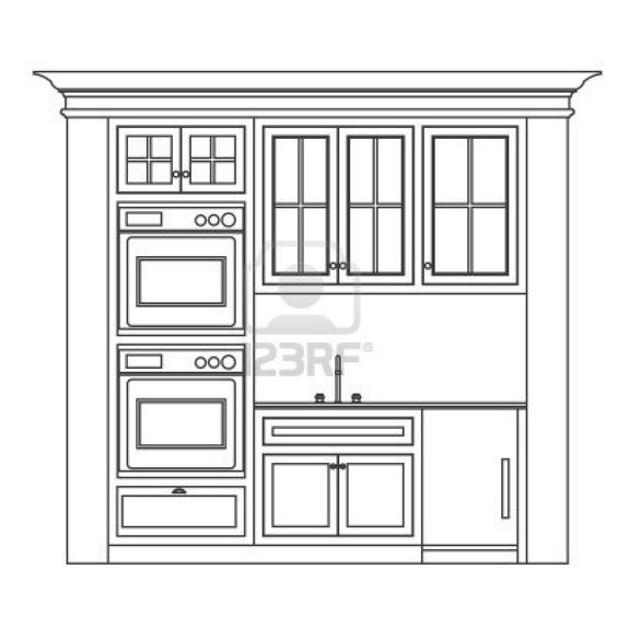 Kitchen Cabinet Design Drawing Kitchen Elevation Line Drawing Cabinets Drawers Appliances