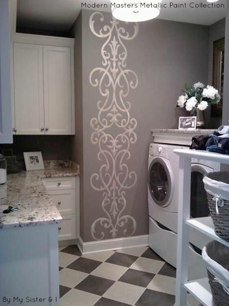 Laundry room accent wall stenciled with Modern Masters Metallic Paints | By My Sister & I.                                                           Stencil is located-https://www.modellodesigns.com/RequestQuote.asp?idno=25225        Thanks to Cheryl Kersh in the comments below.
