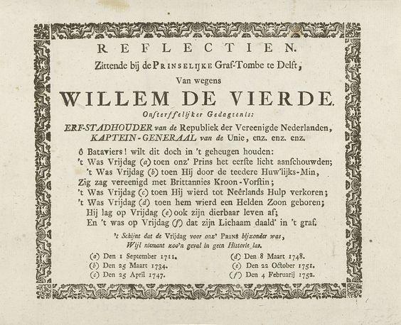 Anonymous | Vers op de zes vrijdagse gebeurtenissen rond prins Willem IV, 1711-1752, Anonymous, 1752 | Tekstblad met een vers op de zes gebeurtenissen uit het leven van prins Willem IV die alle in de jaren 1711-1752 op een vrijdag plaatsvonden. Tekst in decoratieve lijst.