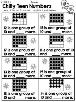 Kindergarten Winter Math Worksheets (Common Core Aligned)   Jardim ...
