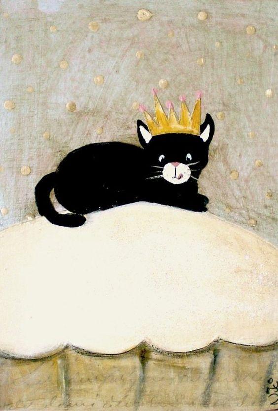 Tuxedo cat cupcake Art Print Mixed Media Limited by VintageNiki, £25.00