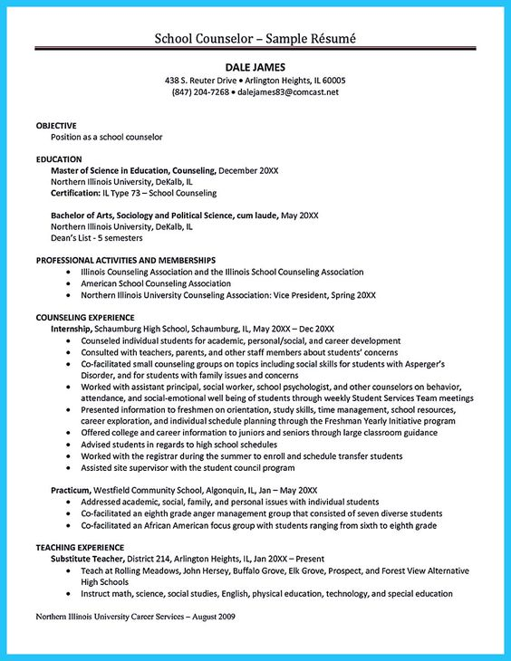 In writing a resume, you need to clear and exact Do not waste - school counselor resume