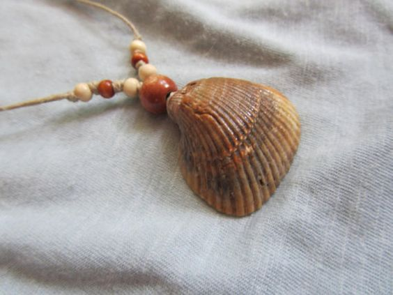 Sea Shell Necklace with Hemp Cord and Wooden Beads by FruFruDesign, $15.00