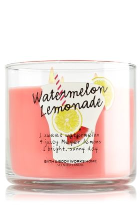 "Watermelon Lemonade - 3-Wick Candle - Bath & Body Works - The world's best candle guaranteed! Made using the highest concentration of fragrance oils, an exclusive blend of vegetable wax and lead-free wicks, our candles melt consistently & evenly, radiating enough fragrance to fill an entire room. Topped with a decorative, summer-inspired lid. Burns approximately 25 - 45 hours and measures 4"" wide x 3 1/2"" tall."