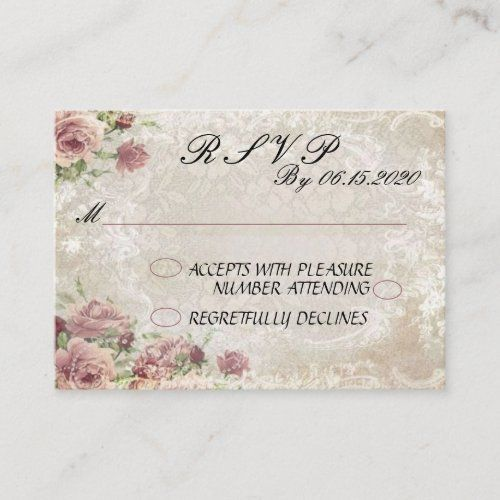 Antique Floral Rsvp Enclosure Card Zazzle Com Enclosure Cards Wedding Enclosure Cards Letterpress Invitations