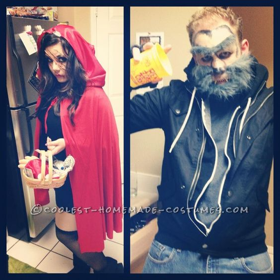 Little Dead Riding Hood and the Big Bad Wolf Couple Costume - halloween costumes with beards ideas