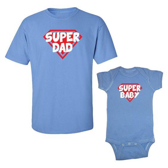 We Match!™ Super Dad & Super Baby T-Shirt & Baby Bodysuit Set