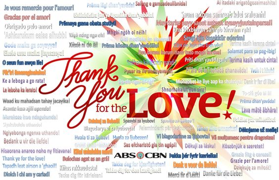 """This is my creative graphic design of the 2015 ABS-CBN Christmas station ID, """"Thank You for the Love!"""" It is a good saying from JaDine, KathNiel, and LizQuen to be grateful for the love everyday. I translated this quote in various languages from French to Hebrew, so that the world will know how they should be thankful for the love everyday."""