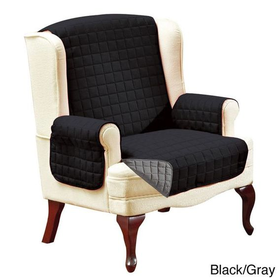Elegant Comfort Quilted Reversible Furniture Protector (Wing Chair, Black/Gray) (Solid)