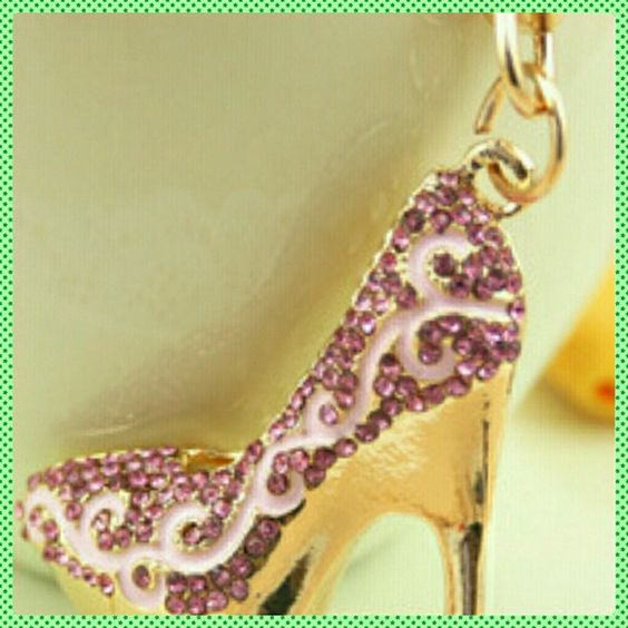 Gold Purple Shoe Keyring Gold Purple Shoe Keyring, Zinc Alloy, 18kGold over Sterling Silver,  3inches Jewelry