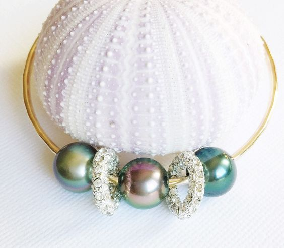 Tahitian pearls and pave rings bangle (B264)