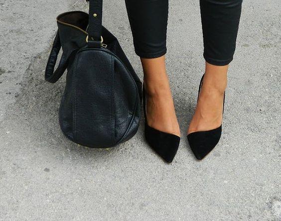 asymmetric black suede pumps | fashion & jewellery | Pinterest ...