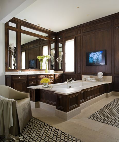Refined Lonestar Luxury . . .like the mirror with millwork, tub surround