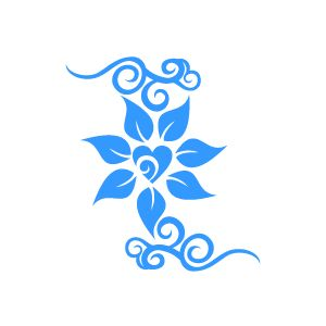 Graphic Design of Flower Clipart - Blue Jasmine with Love Core with White Background
