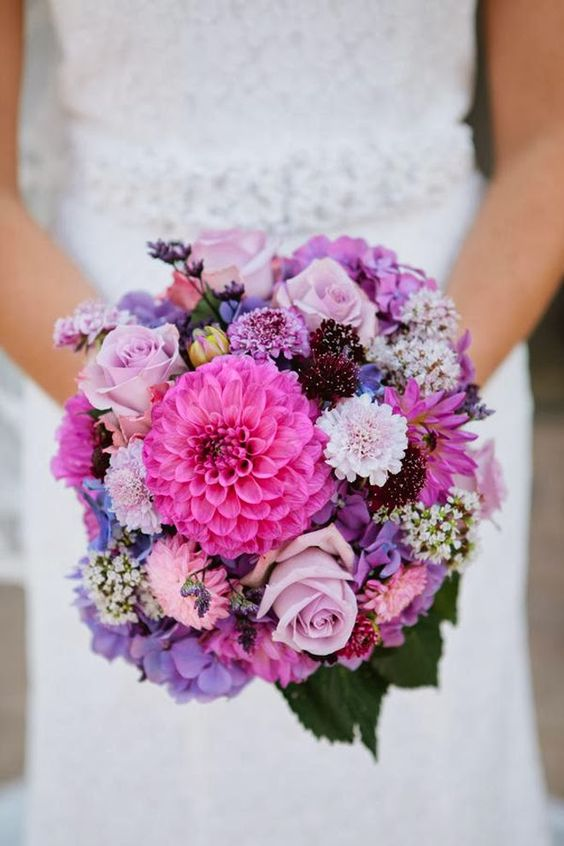 Love the variety of colors/shapes within the same palette. Found on Belle The Magazine. #weddingbouquet