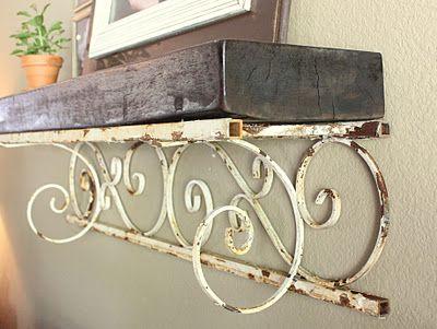 old metal porch post turned shelf