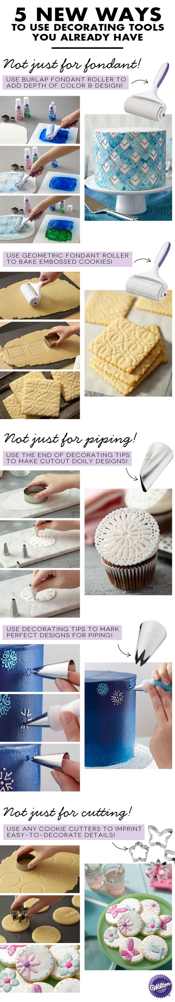 4 new ways to use a handful of everyday decorating tools that you probably already own! These new techniques give some of our favorite and most frequently used decorating tools even more use. Take a look at these DIY cake decorating hacks for fresh inspiration and new ideas on how to use the decorating tip, cookie cutter and fondant roller.