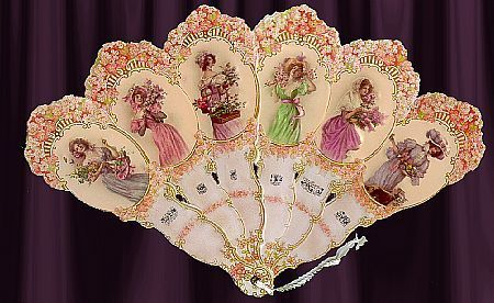 Victorian Vintage 6 Ladies Hand Fan Greeting Card: