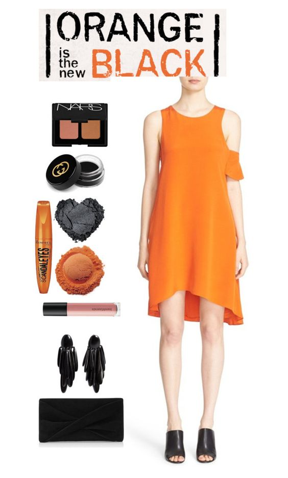 """orange&black contest"" by leticiacarloni ❤ liked on Polyvore featuring 3.1 Phillip Lim, Reiss, Monies, Bare Escentuals, Rimmel, Gucci and NARS Cosmetics"