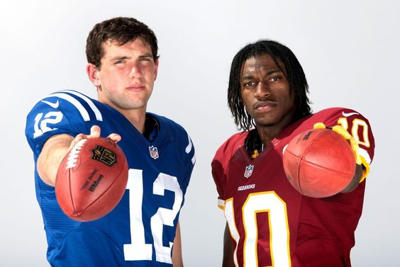 Indianapolis' Andrew Luck and Washington's Robert Griffin III, the first and second picks in the 2012 NFL Draft, pose for a portrait during the 2012 NFLPA Rookie Premiere photo shoot last month.   SI VAULT: Luck, RG3 are draft's best 1-2 punch since 1998 (4.23.12)