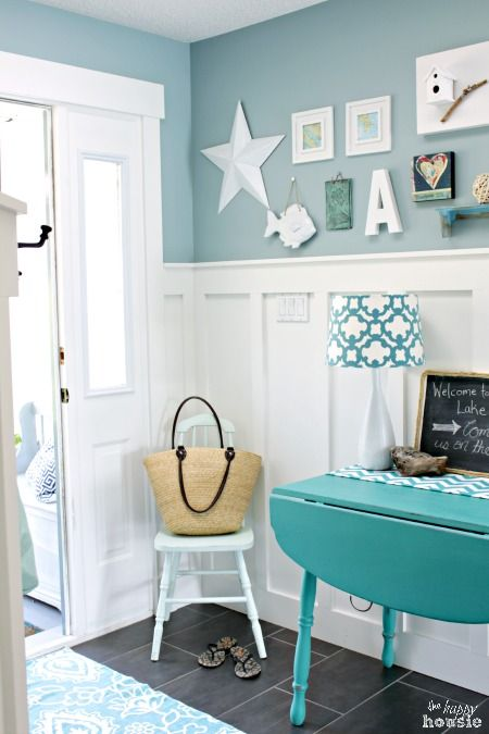 Beachy Style Summer Lake House Tour at The Happy Housie Entry Hall 1