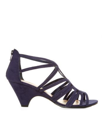 Navy Strappy Cut Out Low Heel Peeptoe Sandals  Női szandálok
