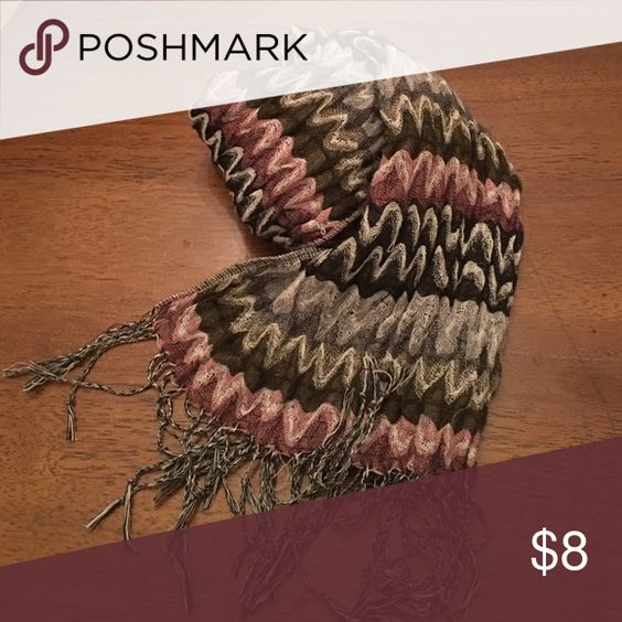 """Scarf Scarf with texture and chevron design. Size is 68"""" long X 9 1/2"""" wide. Shades of rose, olive and off white. Accessories Scarves & Wraps"""
