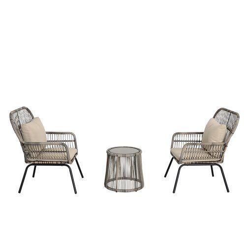 Outdoor Sofa Sets, Peaktop 3 Piece Wicker Patio Set With Cushions
