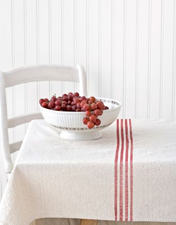 White. Red! Beadboard. Vintage: Grain Sack, Drop Cloths, Drop Cloth Tablecloth