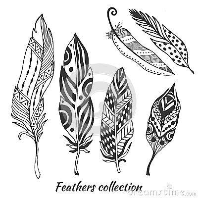 Collection stylisée tirée par la main de vecteur de plumes Ensemble de plumes de tribal de griffonnage Plume mignonne de zentangl