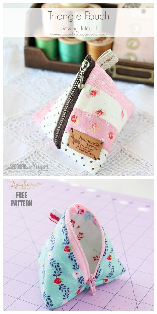 Diy Triangle Zipper Pouch Free Sewing Pattern Tutorial Ladiespouchpurse Diy Pouch No Zipper Pouch Sewing Pouch Pattern