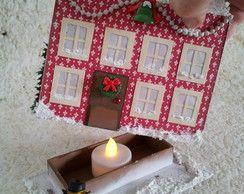 Casinha de Natal com Boneco de Neve